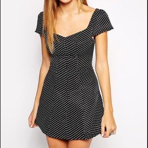 Glamorous Polka Dot Mini Dress Black V Neck M